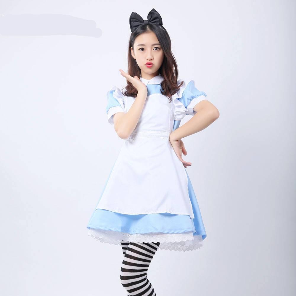 Alice in Wonderland Costume Lolita Dress Maid Cosplay Fantasia Carnival Halloween Costumes for Women