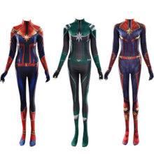 Adult Kids Captain Marvel Cosplay Costume Carol Danvers Avengers Superhero Zentai Bodysuit Suit Halloween Costume for Women