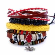 Hot Anime Naruto Handmade Leather Set Bracelet for Gift
