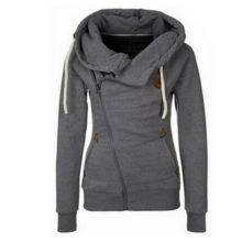 Women Hoodies Sweatshirt Turn Down Collar Cardigans Bomber Jacket