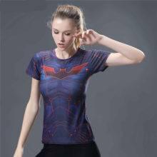 Superhero Superman Captain America/Spiderman/Batman T Shirt Women Tops Quick-drying Tight bodybuilding Wear