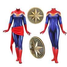 Movie Anime Captain Marvel Carol Danvers Avengers Cosplay Costume Superhero Zentai Halloween Carnival Party For Adult Women Kids