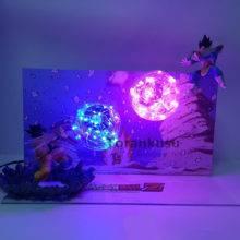 Dragon Ball Z Action Figure Model Toy Son Goku Kamehameha Led Explosion Scene DIY Figurine Toys Dragon Ball Super Goku