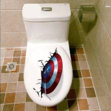 3D Vivid Captain America Shield Through Decorative Wall Stickers For Toilet Decor The Avengers Wall Decals Art PVC Mural Posters