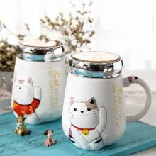 500ml Cartoon Cat Heat-resistant Cup Color Cartoon With Lid Cup Kitten Milk Coffee Ceramic Mug Children Cups Office Summer Gifts